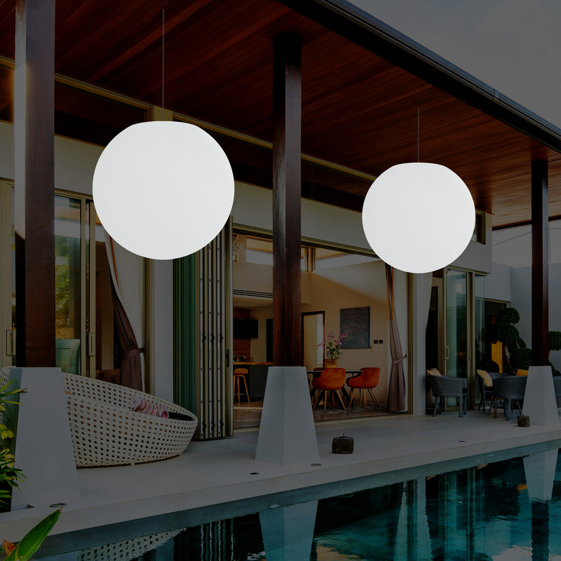 Garden Patio Hanging Light, Mains Powered LED Ceiling Lamp, 60cm Globe, RGB