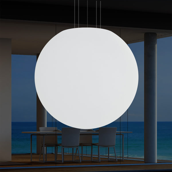 External Veranda LED Pendant Lamp, Mains Powered 80cm Orb Suspension Lamp, Colour Changing