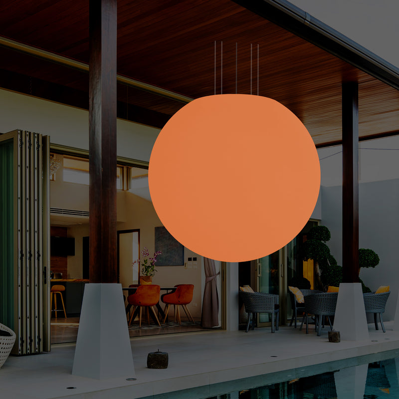 Outdoor Terrace Suspension Light, Mains Powered LED Ceiling Lamp, 125cm Sphere, RGB