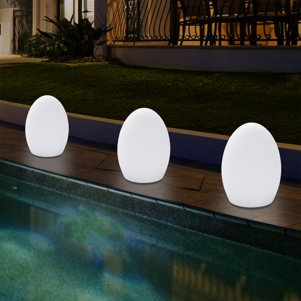 Outdoor Garden LED Egg Table Lamp, Small 19cm Mains Powered Patio Light, Multi Colour