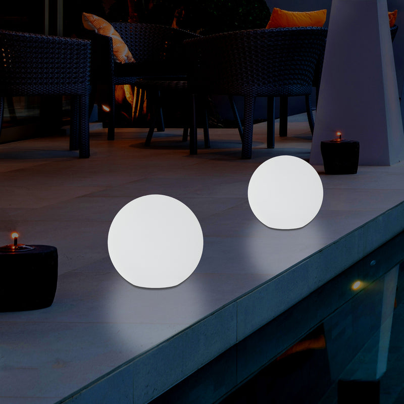 Outdoor Mains Powered LED Ball Sphere Ambient Light for Garden, 5V DC Low Voltage, 15cm