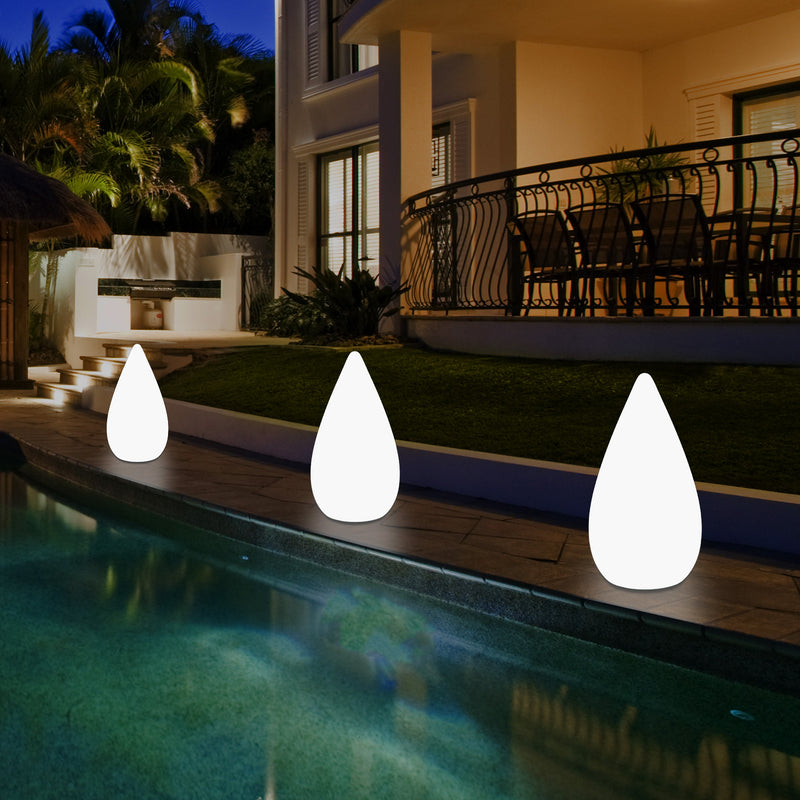 37cm LED Water Drop Light, Mains Powered Outdoor Garden Patio Floor Lamp, Multicolour
