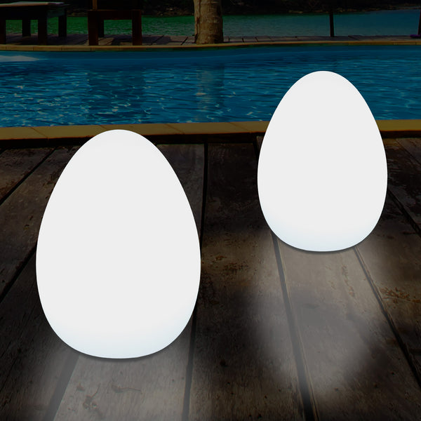 External Garden LED Egg Table Lamp, 37cm Mains Powered Patio Light, Multi Colour RGB