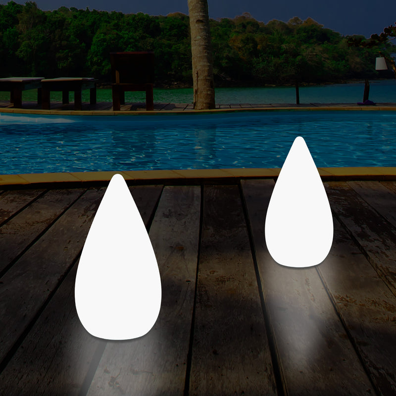 37cm Outdoor Waterdrop LED Garden Patio Light, Designer Multi Colour Table Floor Lamp