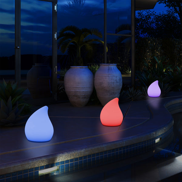 Designer Outdoor Garden Patio Table Lamp, Mains Powered Multi Colour 20 cm Mood Light