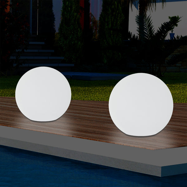 Outdoor LED Globe Table Lamp, 5V Mains Powered Garden Lighting, 20cm Ball, Multi Colour