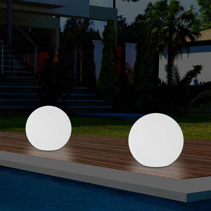 Mains Powered 5V Outdoor LED Garden Lamp, 25cm Orb Sphere Mood Light, Colour Changing
