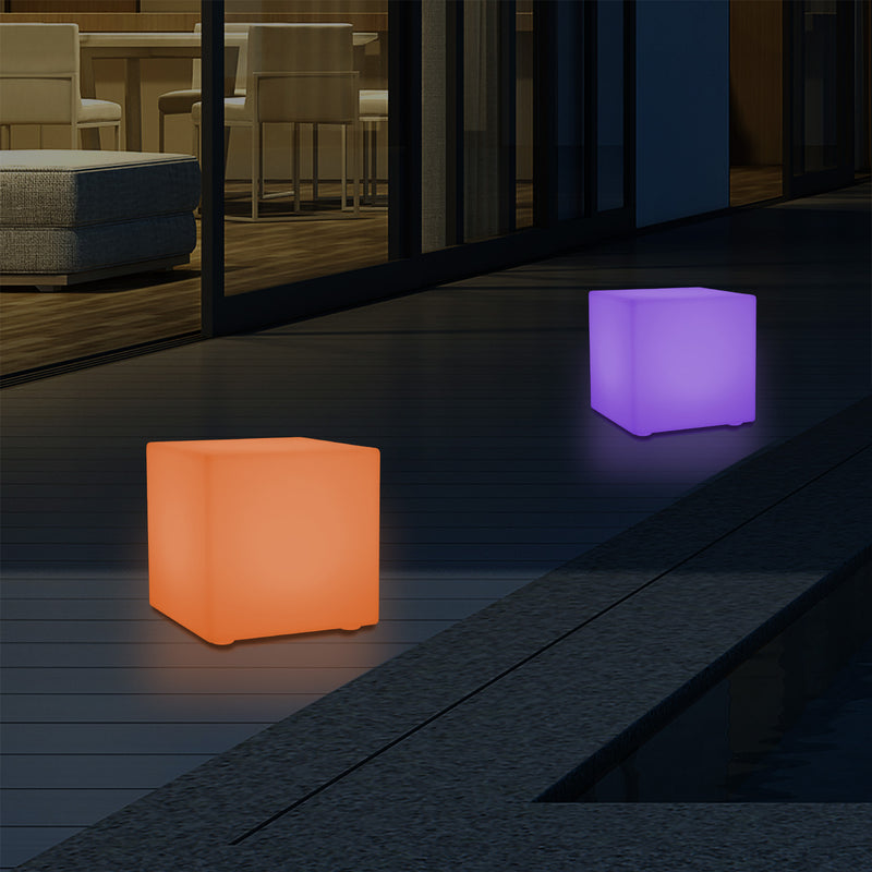 Mains Powered Outdoor Garden Patio Lighting, 5V Multi Colour LED Table Lamp, 20cm Cube