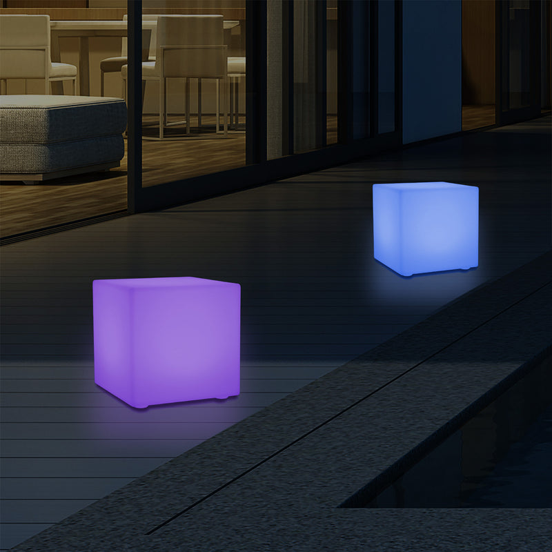 Outdoor LED Garden Patio Table Lamp, Mains Powered RGB Cube Light, 5V Low Voltage, 15cm