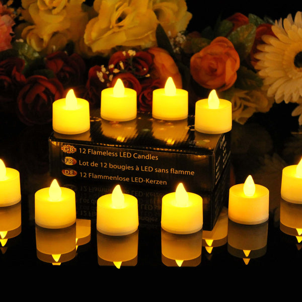 48 battery tea lights amber flame