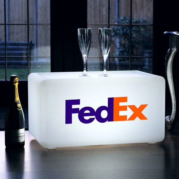 Custom Branded Illuminated LED Bench, Wireless Promotional Light Box Display Stool Seat