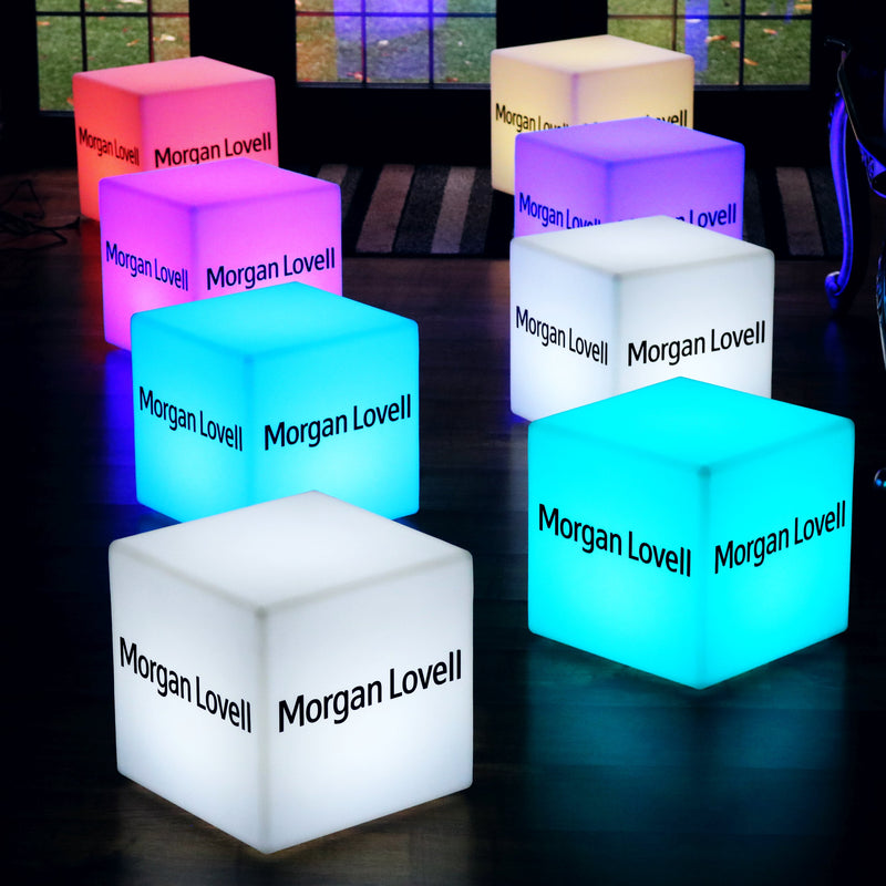 Customised Branded Stool Seat Table, Free Standing Light Box, Cube 40cm, Warm White