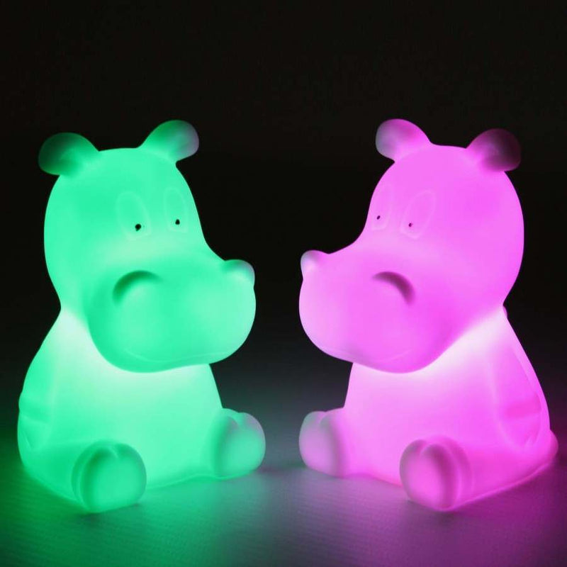 LED Hippo Night Light Colour Changing Mood Lamp - Set of 3