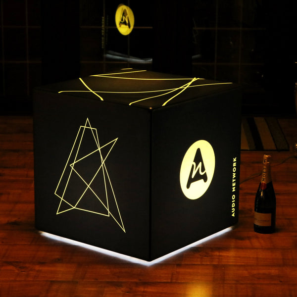 Custom Branded LED Stool Seat Display Sign, Illuminated Wireless Cube Light Box, 50cm