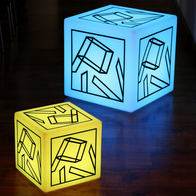 Customisable Branded Furniture Stool Seat, LED Display Light Box Floor Lamp, Cube 50cm