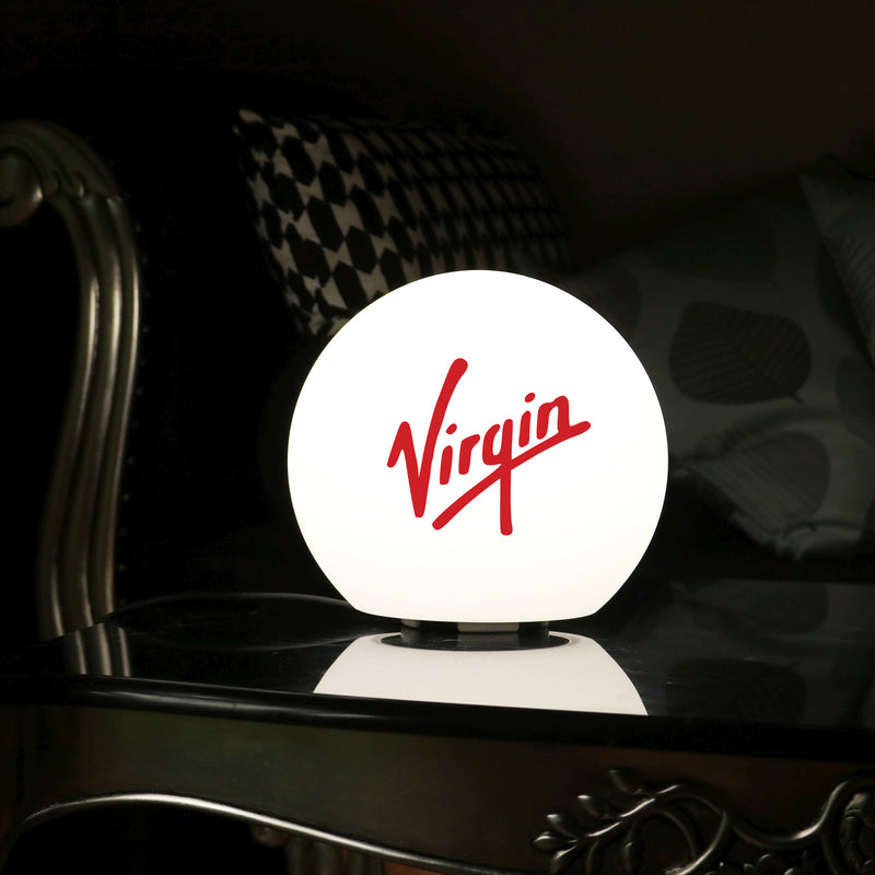 Personalised LED Table Lamp, Custom Branded Promotional Lightbox with Logo, 15cm Ball