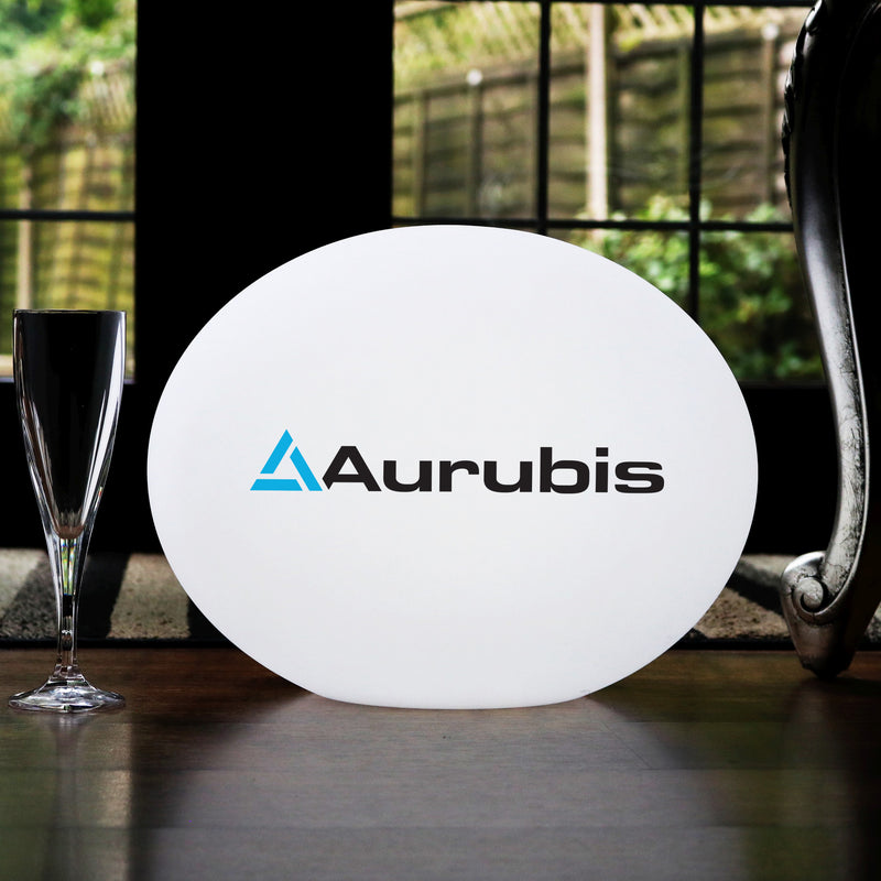 Personalised LED Table Lamp, Custom Branded Outdoor Circular LED Light Box, Backlit Sign