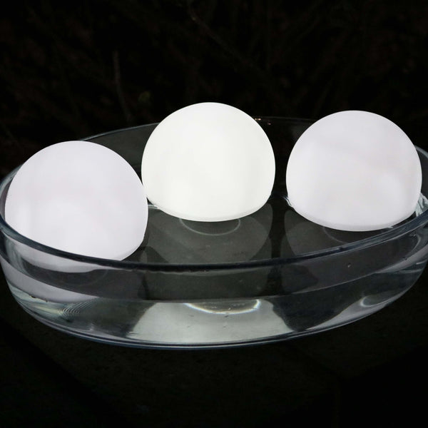 set of 3 bright white led floating spheres