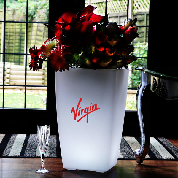 Custom Branded LED Floor Vase, Personalised Light Box Flower Plant Pot, Display Signage