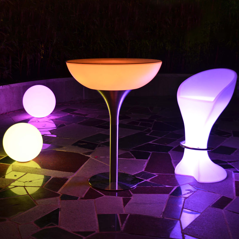 Half moon table with LED furniture