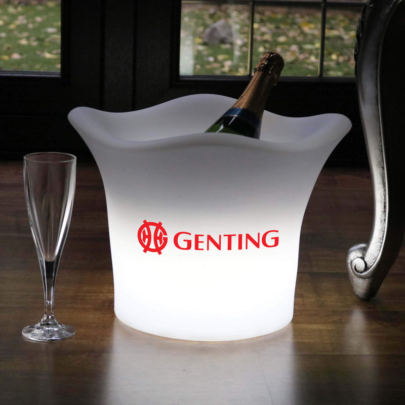 Personalised LED Ice Bucket, Custom Branded Illuminated Champagne Wine Cooler with Logo