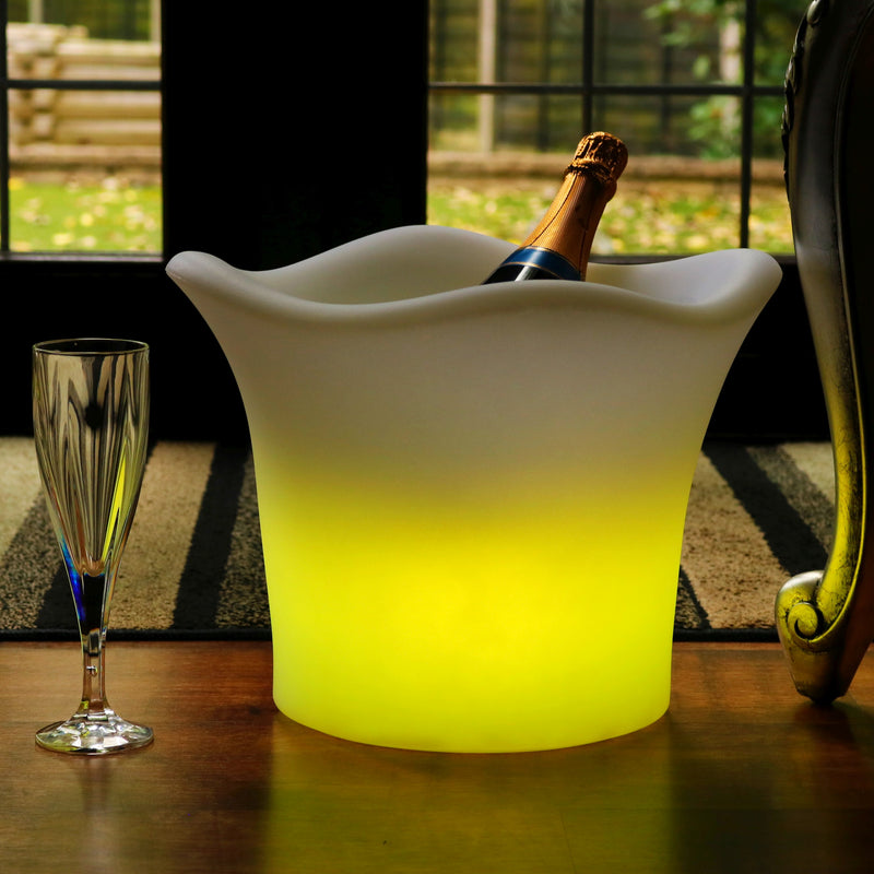 Outdoor Garden LED Ice Bucket Wine Cooler, Mains Powered Colour Changing Patio Lighting