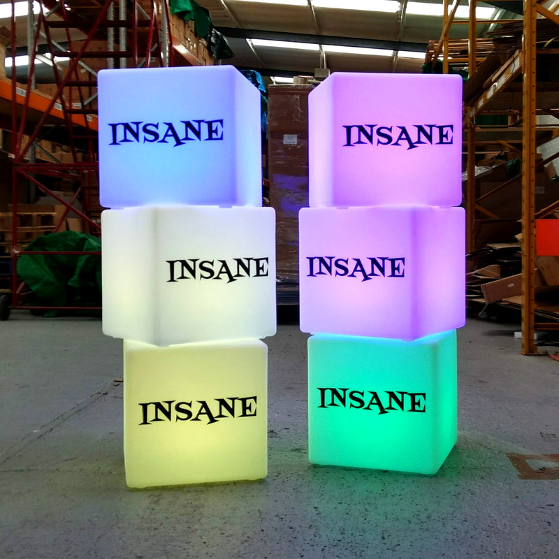 Branded LED Stool Seat, Personalised Display Signage, Rechargeable Cube Light Box, 40cm