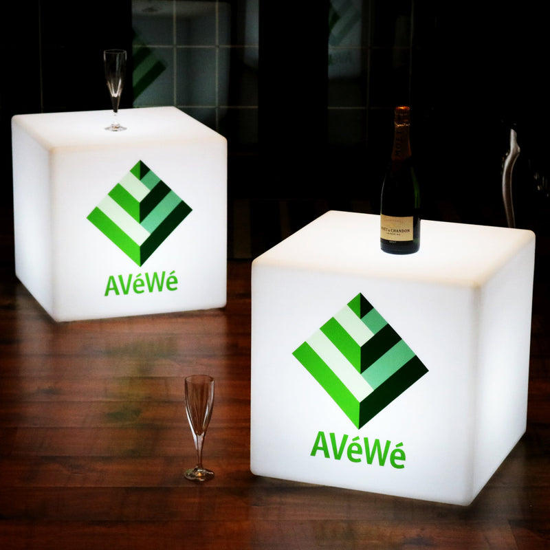Personalised Branded LED Furniture Stool Seat, Display Sign Lightbox, Cube 40cm, White
