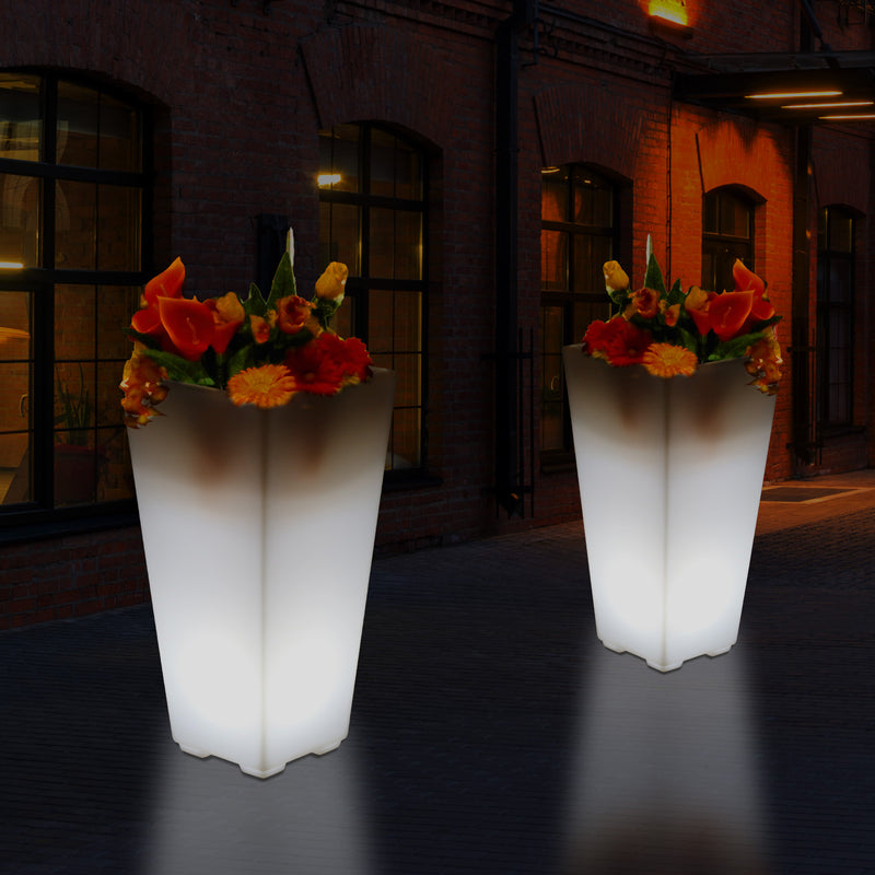 Outdoor Mains Powered LED Flower Vase, 75cm Tall Floor Vase Plant Pot for Garden, Patio