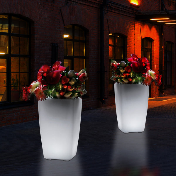 Outdoor Garden Patio LED Floor Vase, 50cm Tall Flower Vase Plant Pot, Mains Operated