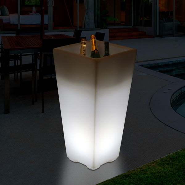Outdoor Garden LED Wine Champagne Cooler, Mains Operated Illuminated Ice Bucket, 75cm