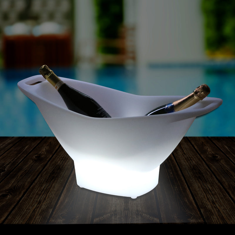 Garden External LED Ice Wine Bucket Champagne Cooler, Mains Powered Drinks Bottle Holder