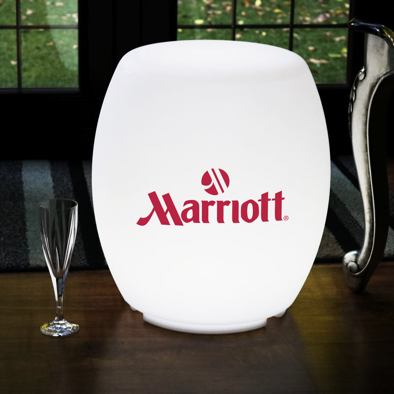 Personalised LED Stool Seat Furniture, Branded Floor Lamp, Backlit Lightbox with Logo