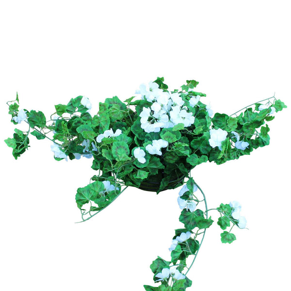 Artificial white geranium hanging pot