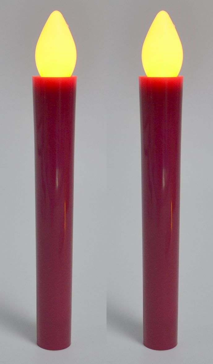set of 2 red taper lights