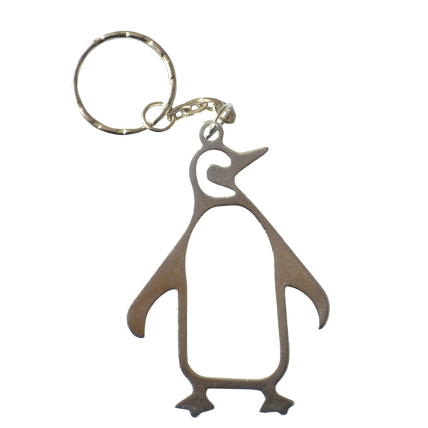 silver penguin keychain with bottle opener