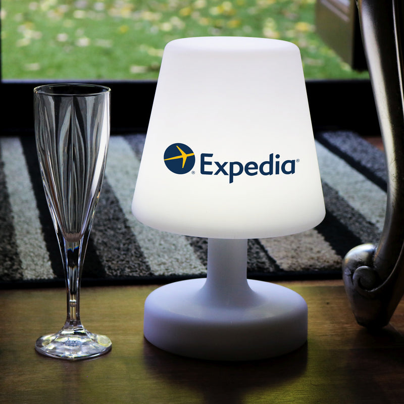 Customised LED Table Lamp with Logo, Rechargeable Personalised Table Centre, 27cm