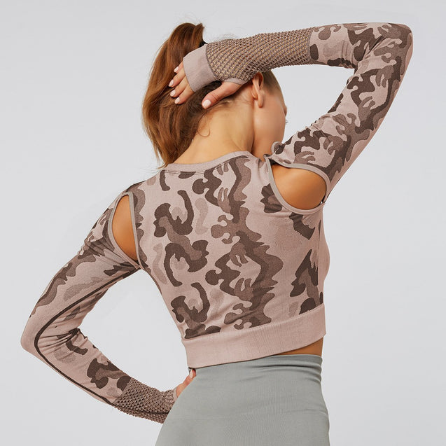 Ultra Camo Long Sleeve Crop Top - UltimateFitGears