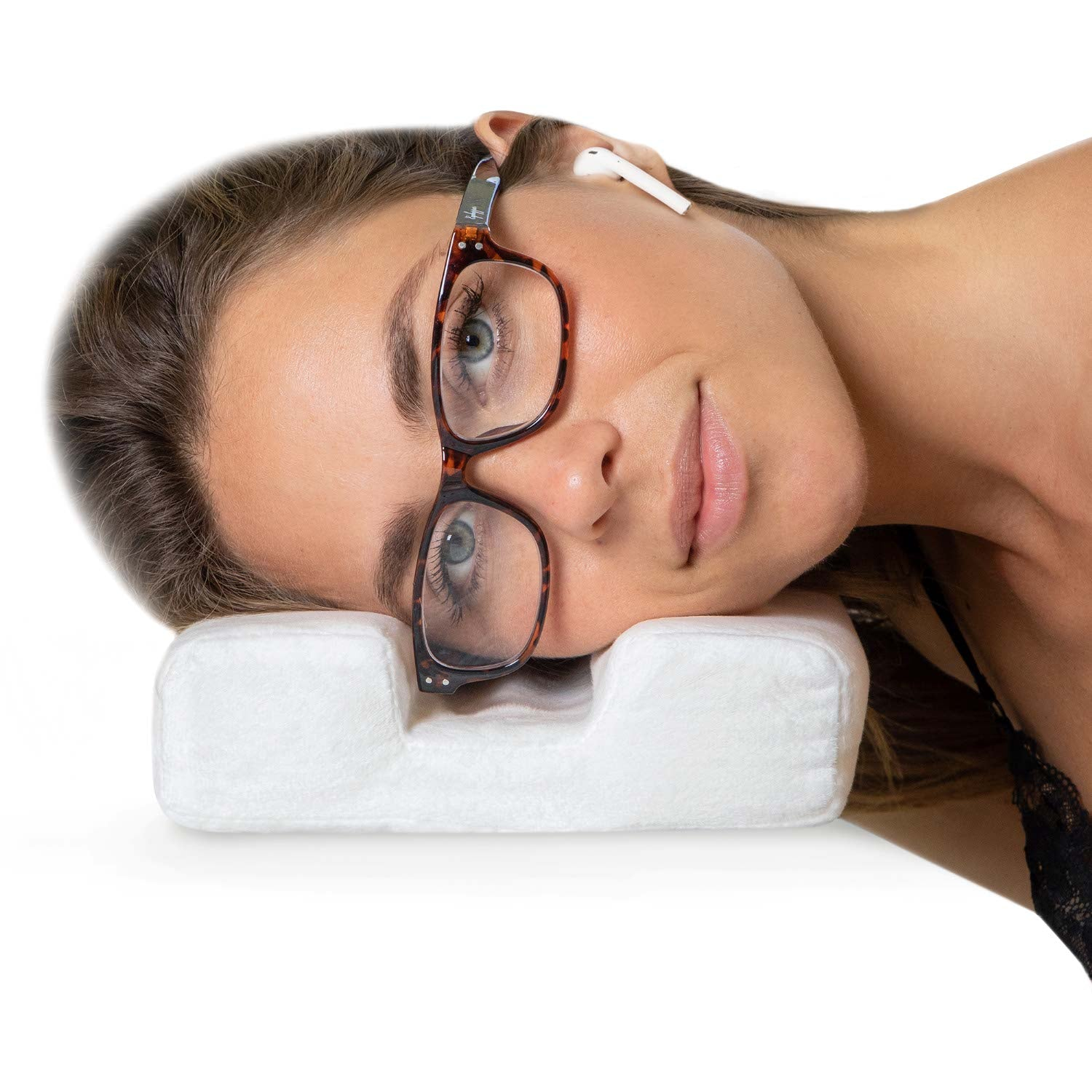 MyComfyPad for Airpods and glasses users. Eyeglass pillow and glasses pillow to prevent your ears from hurting when lying down with Airpods or earphones and prevents smushed glasses when falling asleep. Great gift for Airpods, glasses, hearing aids.