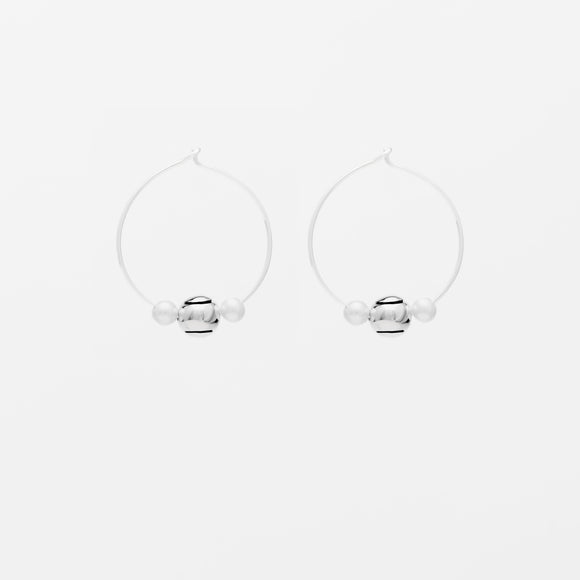 Ball & Pearl Hoop Earrings