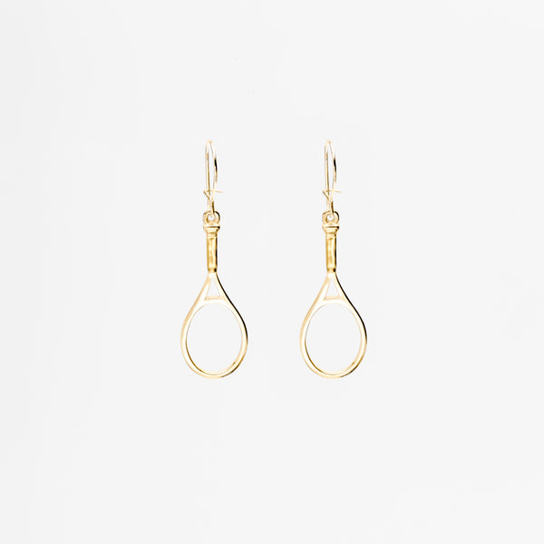 14K Gold Hanging Racquet Earrings