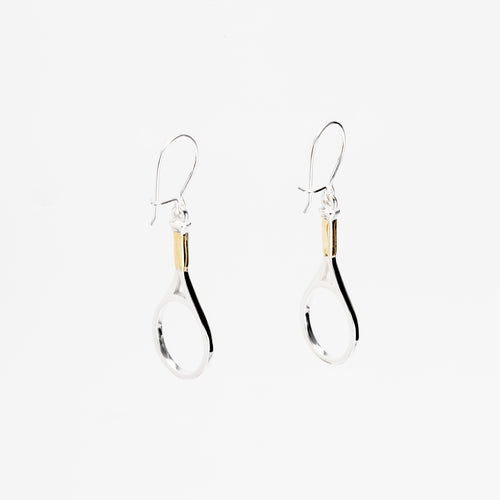 Platinum Hanging Racquet Earrings