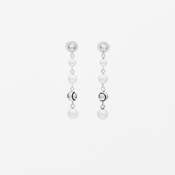Pearl Tennis Ball Accent Earrings
