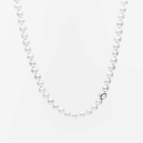 Platinum & Pearl Tennis Ball Accent Necklace