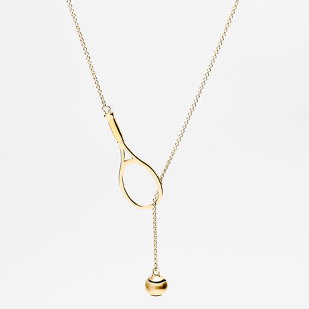 14K Gold Racquet Icon Necklace