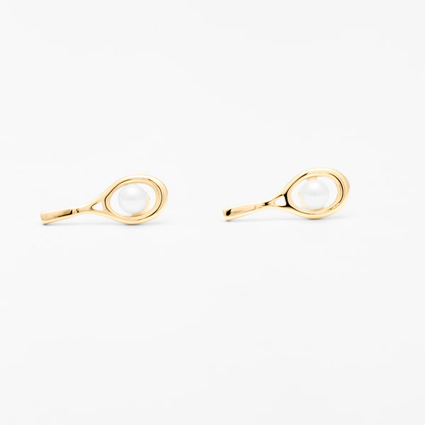14K Gold Racquet & Pearl Stud Earrings