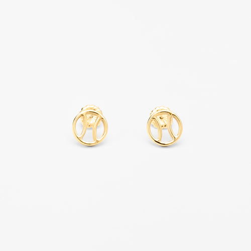 14K Gold Tennis Ball Icon Stud Earrings