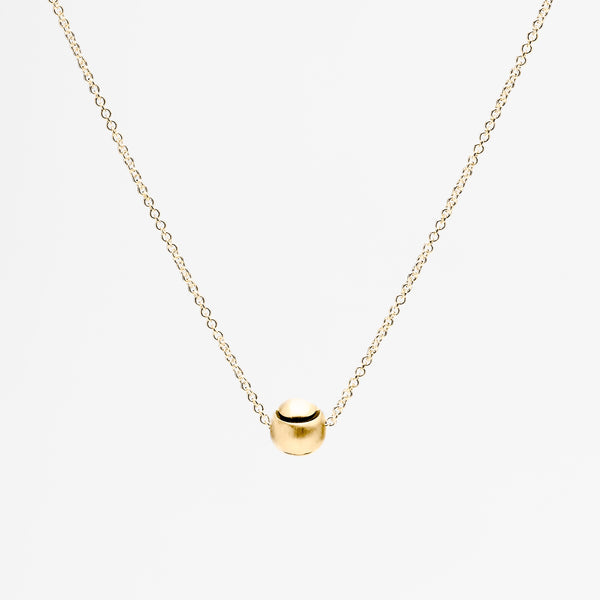 14K Gold Tennis Ball Pendant Necklace