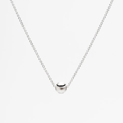 Platinum Tennis Ball Pendant Necklace