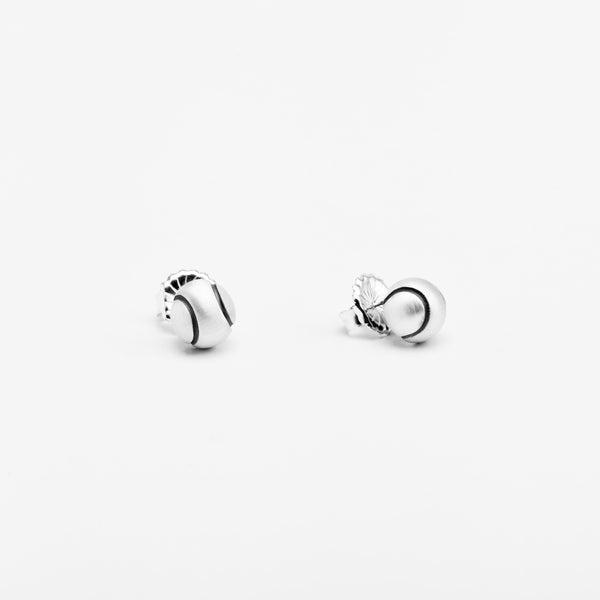 Platinum Tennis Ball Stud Earrings